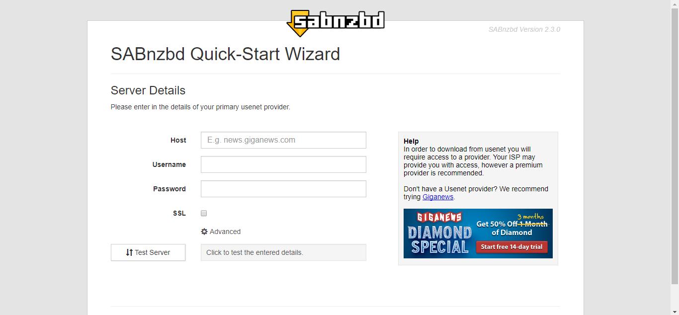 SABnzbd Quick-Start wizard