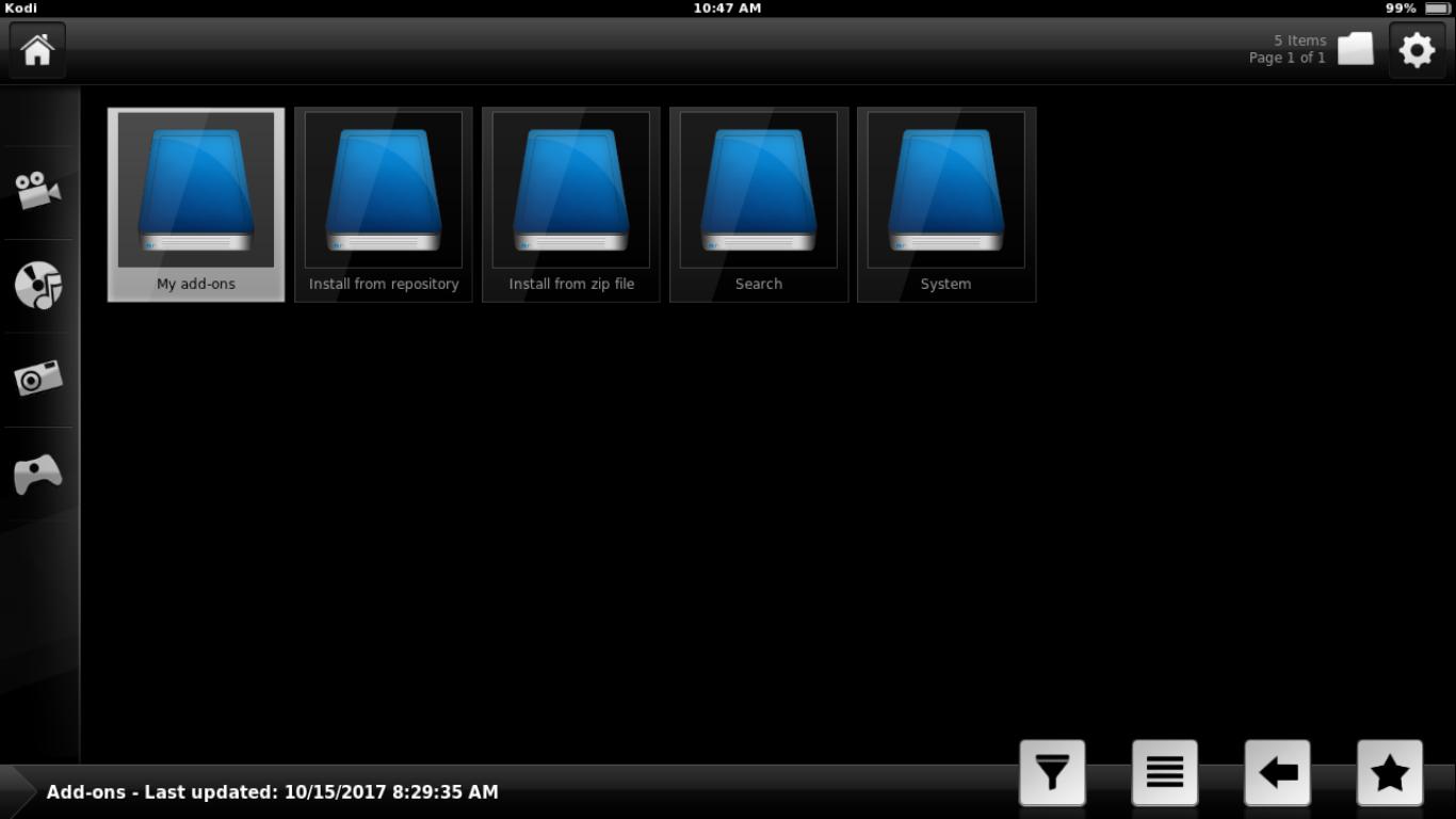 SPMC Add-ons Screen