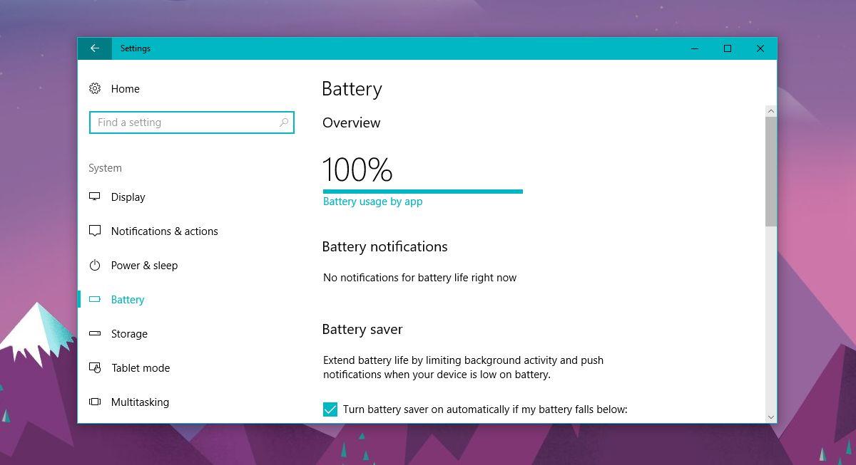 battery usage win 10