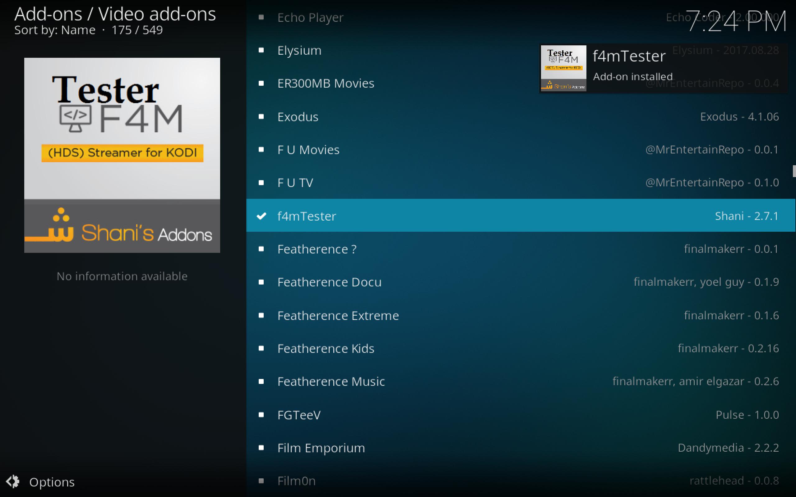 f4m Installed via Kodil