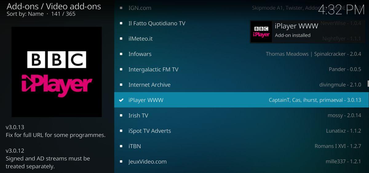 iPlayer WWW Kodi addon – watch the Apprentice