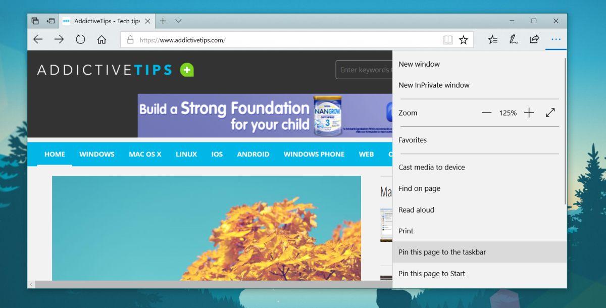 pin website to taskbar edge
