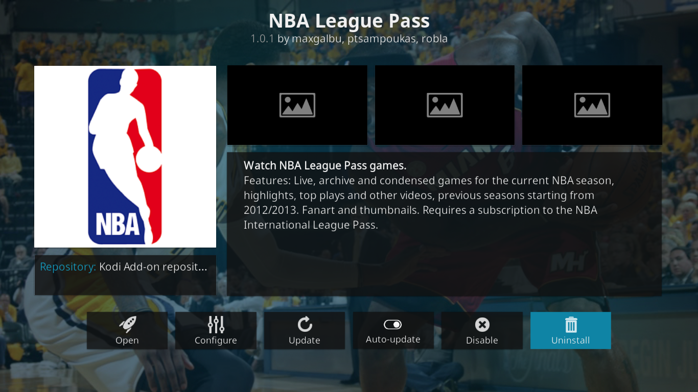 NBA League Pass Info Screen