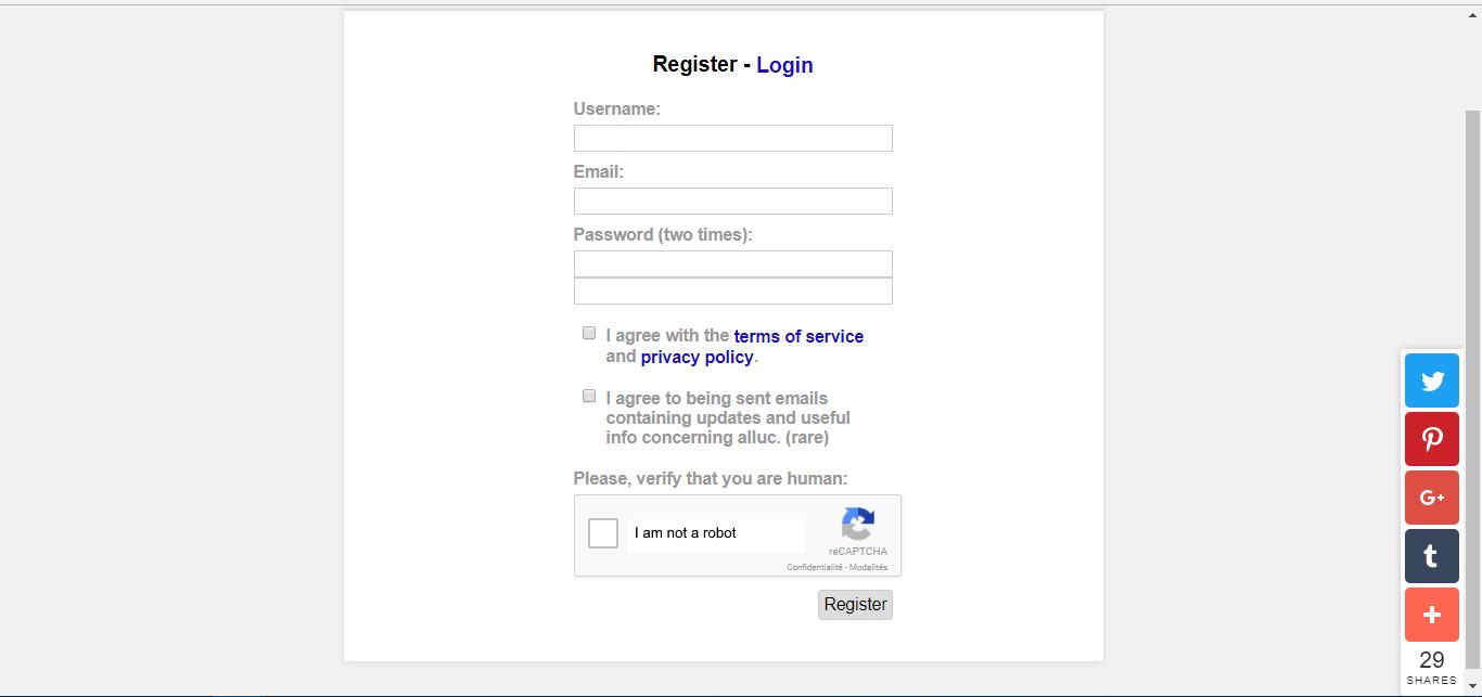 Alluc Registration