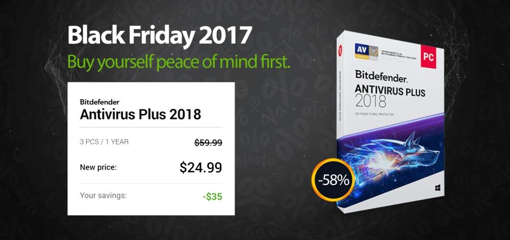 Bitdefender Antivirus PLUS 2018 - Black Friday deal