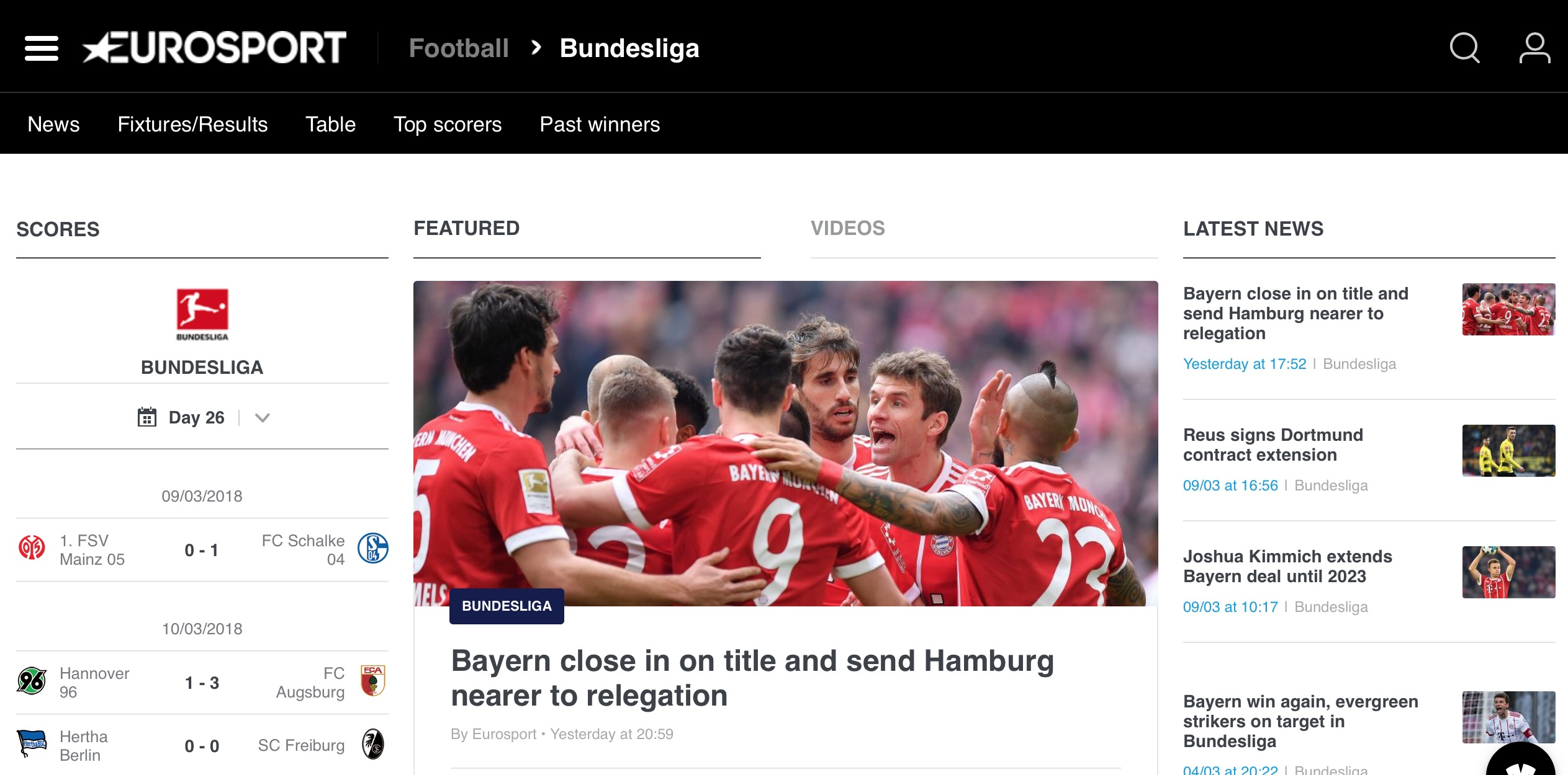 Eurosport home page