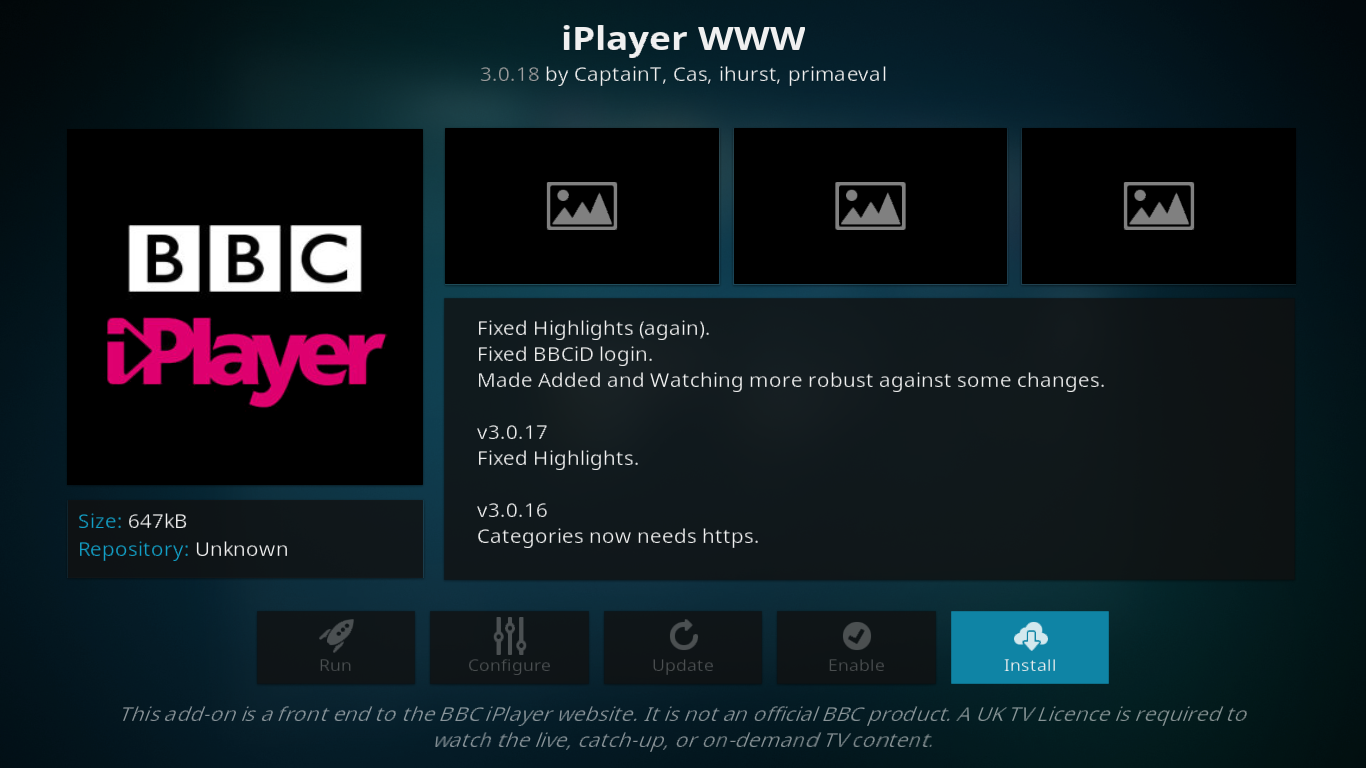 IPlayer WWW Add-on Info