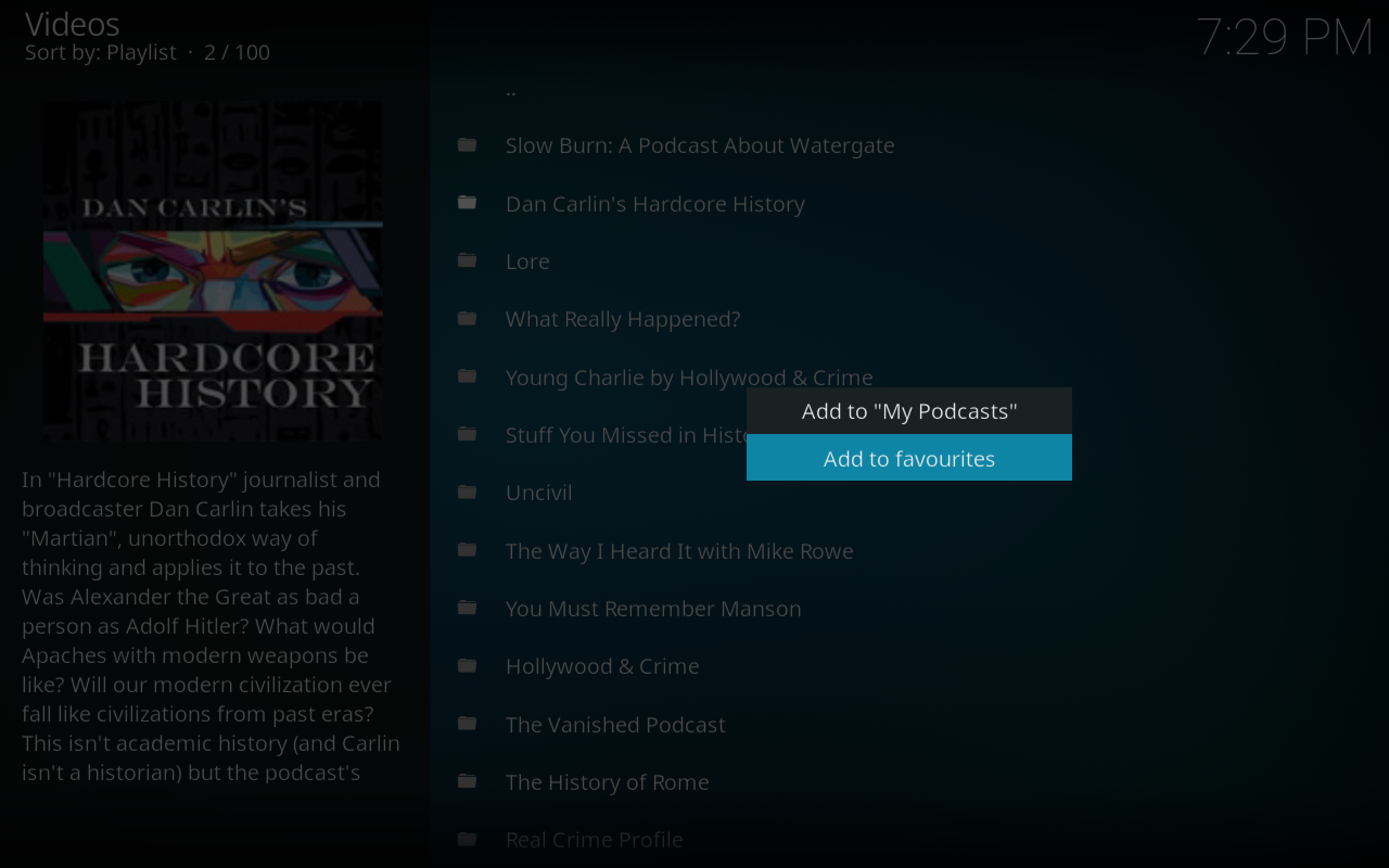 Listen to Podcasts On Kodi with the Apple iTunes Podcasts Add-on Usage 2