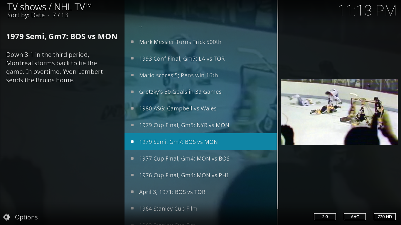 NHL TV Classic Games