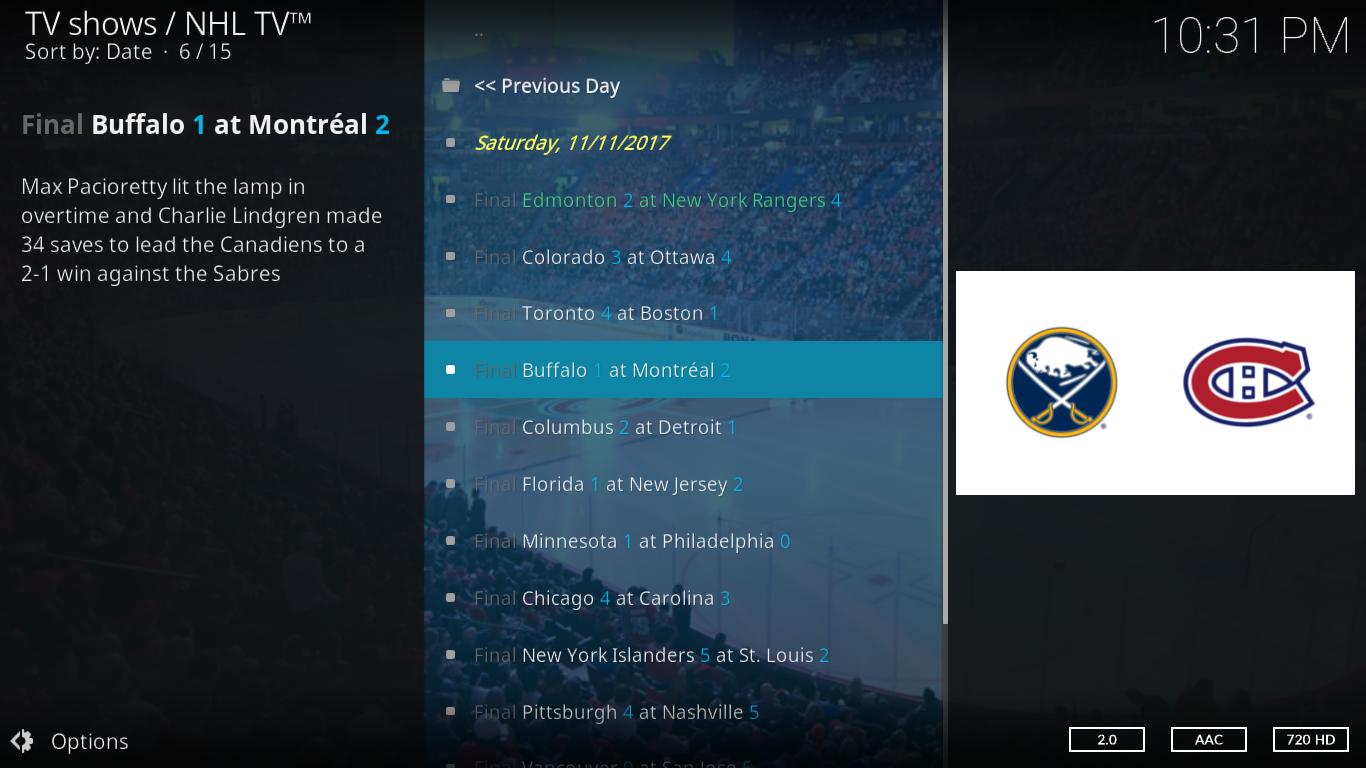 NHL TV Yesterday's games