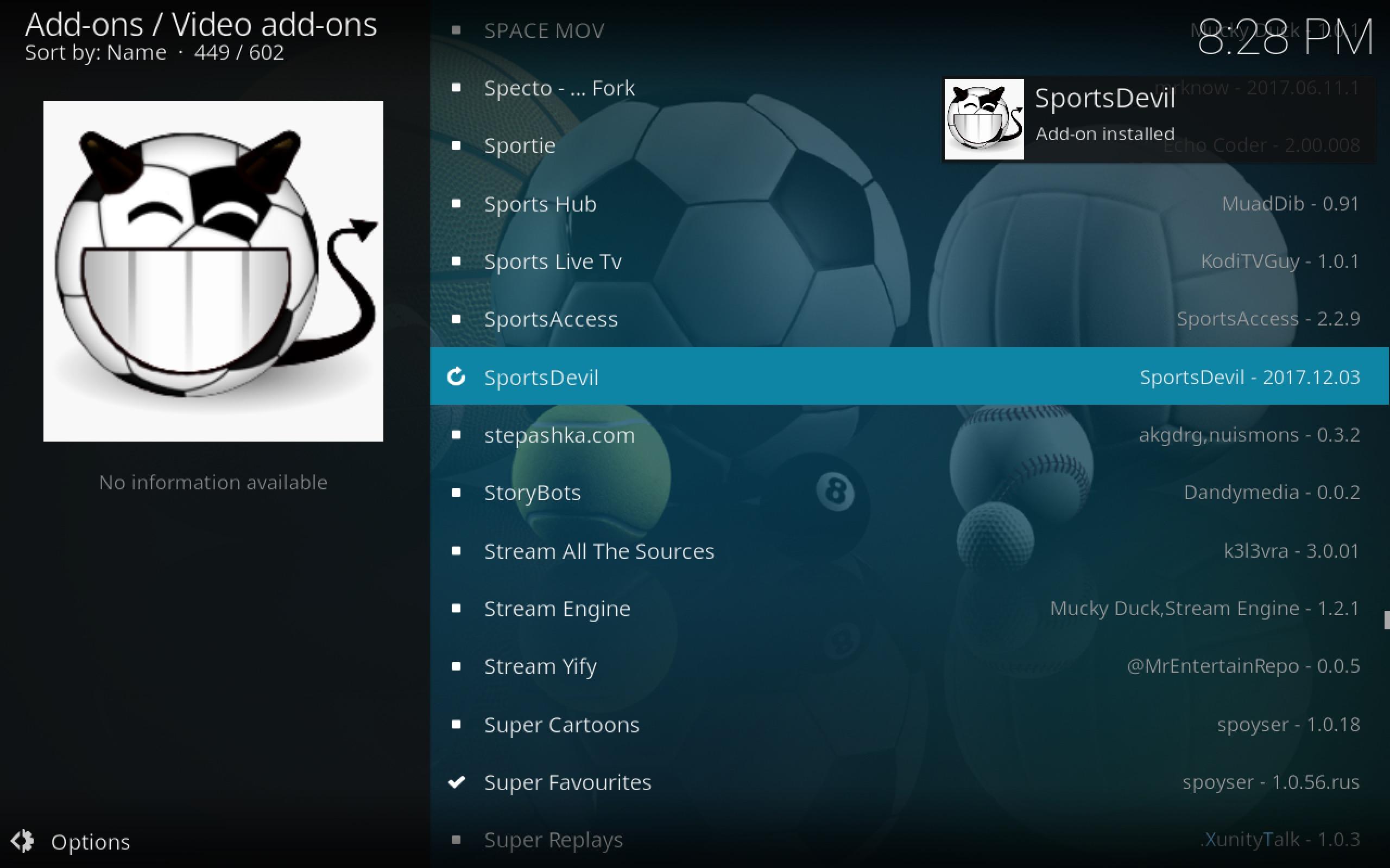Sportsdevil add-on installed