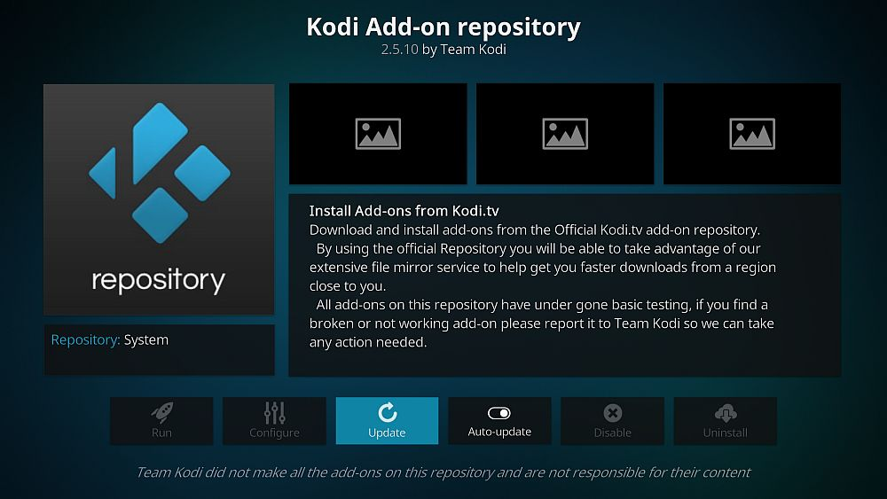 The official Kodi add-on repository