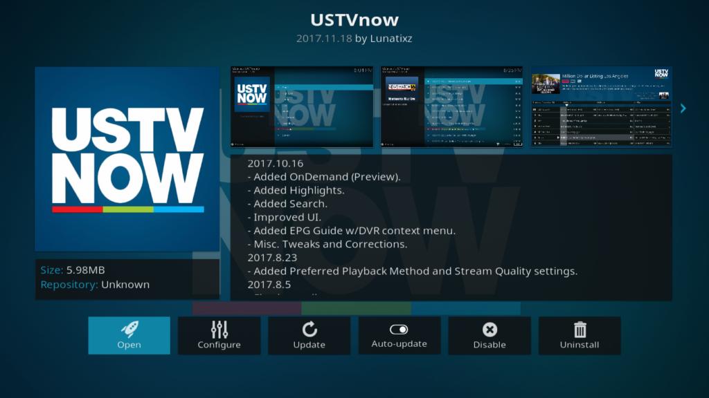 USTVNow Add-on Info