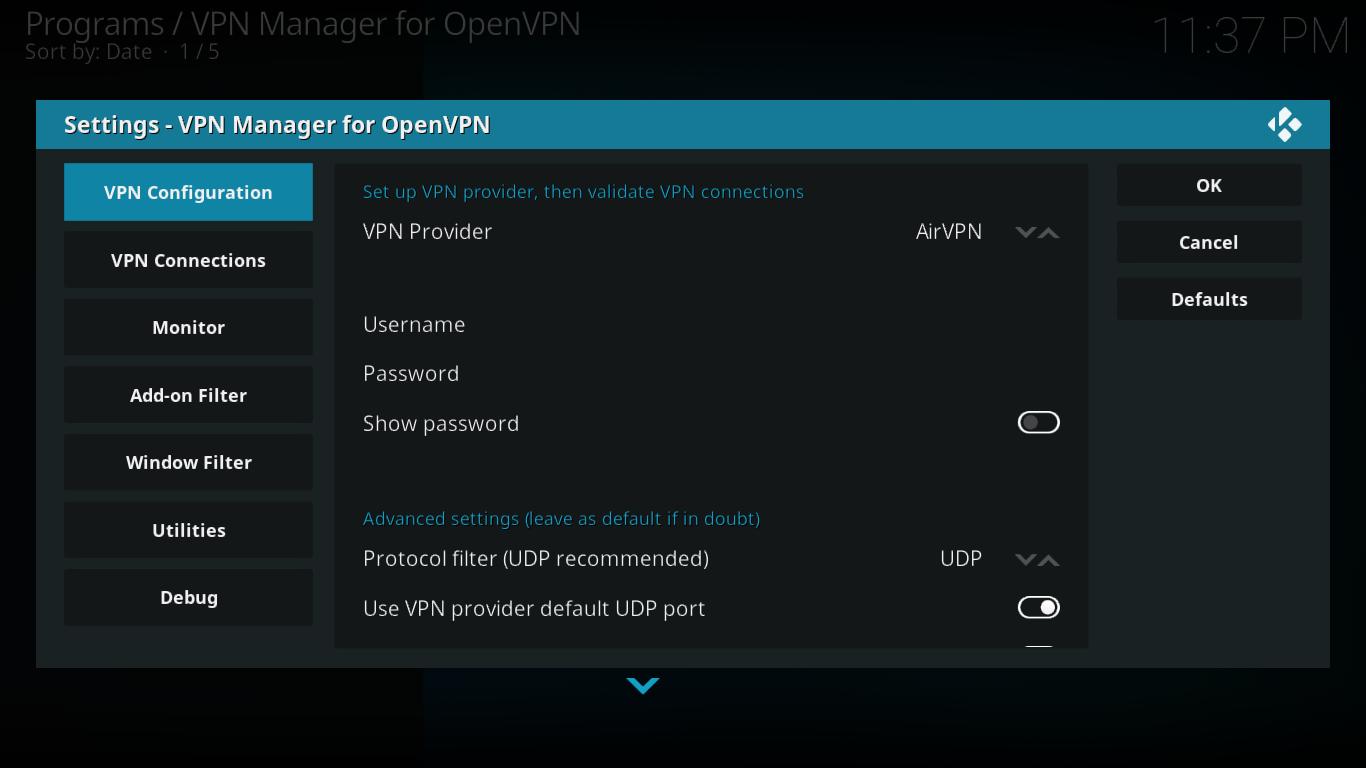VPN Manager Configuration
