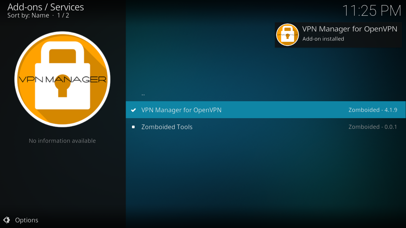 VPN Manager Install complete
