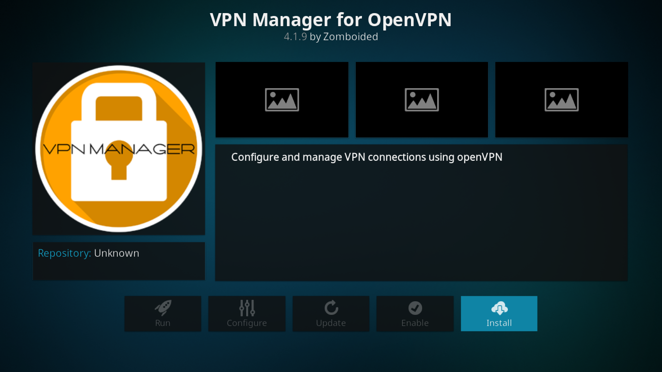VPN Manager add-on screen