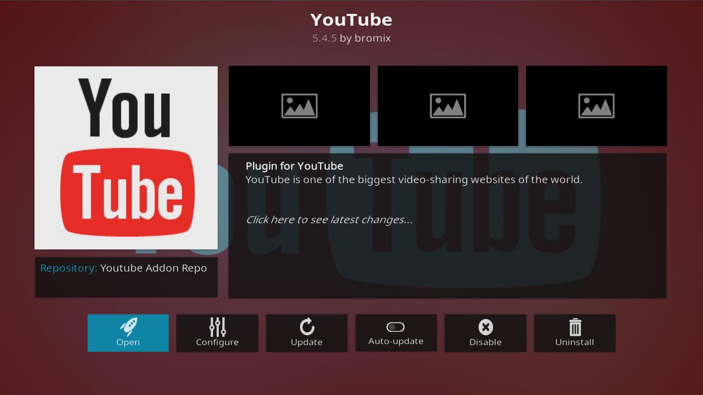 YouTube Add-on Info