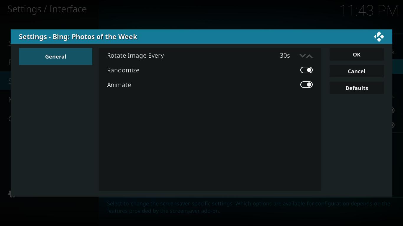 Bing Photos of the Week Settings
