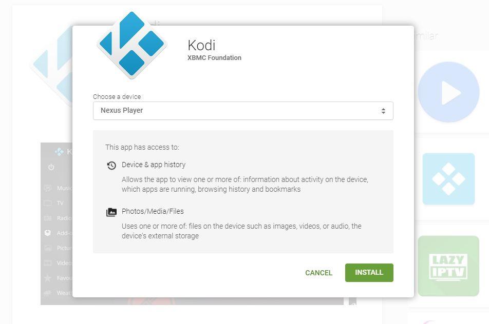 Kodi Android TV - marketplace install - 2