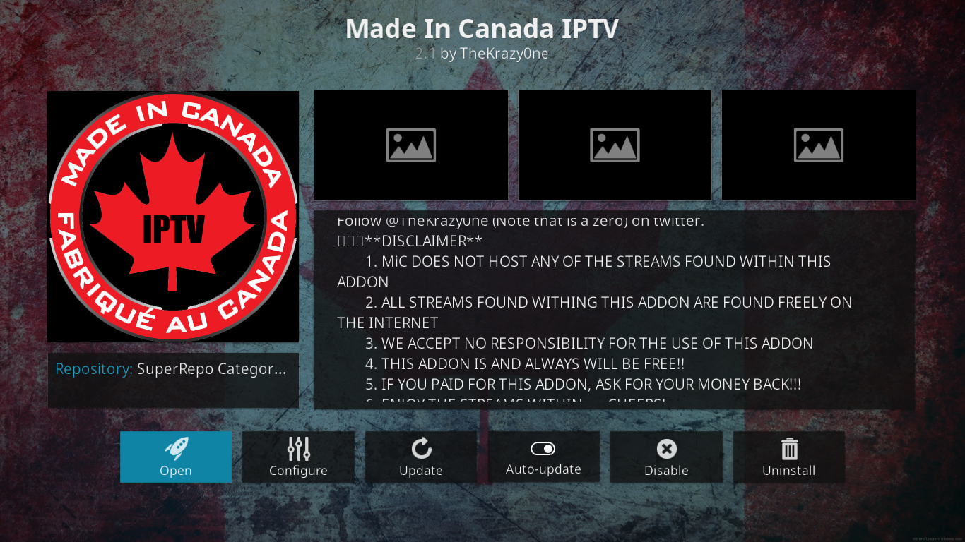 Made in Canada Information Screen