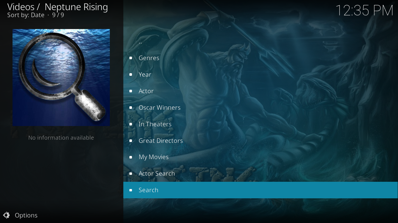 Neptune Rising Movies Menu