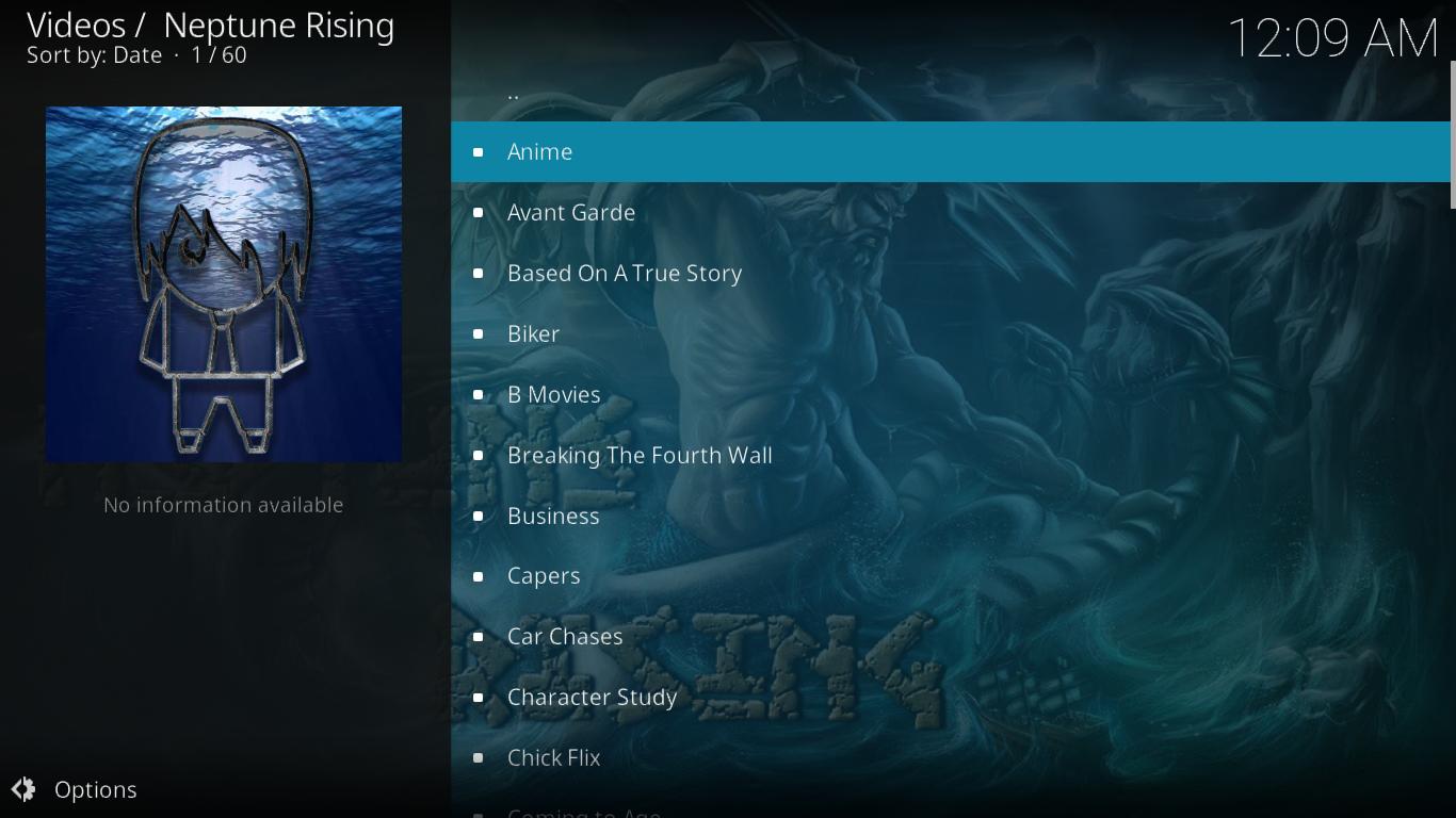 Neptune Rising Playlists Menu