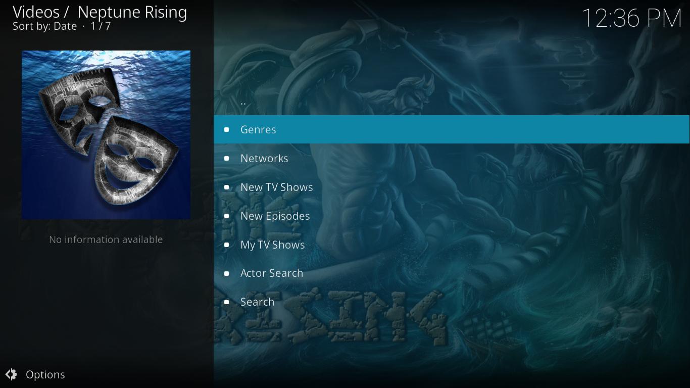 Neptune Rising TV Shows Menu