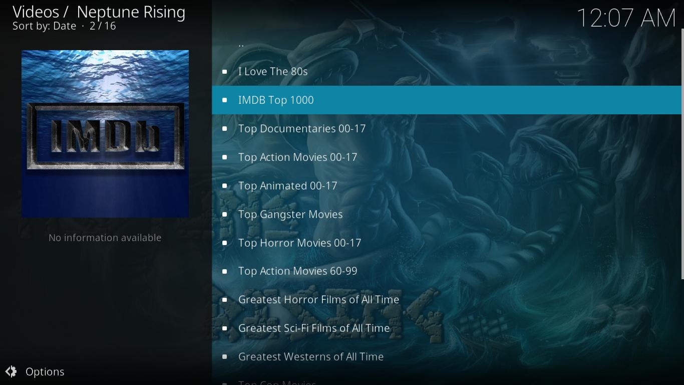 Neptune Rising Top Movies Menu