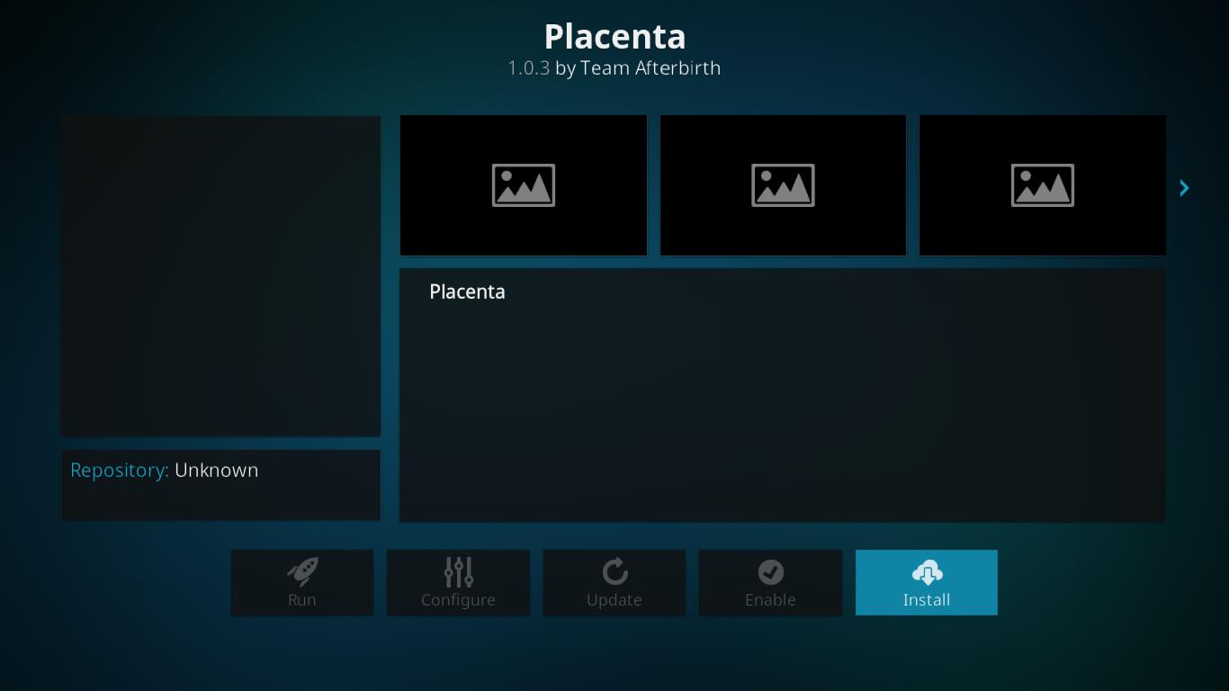 Placenta Installation Screen