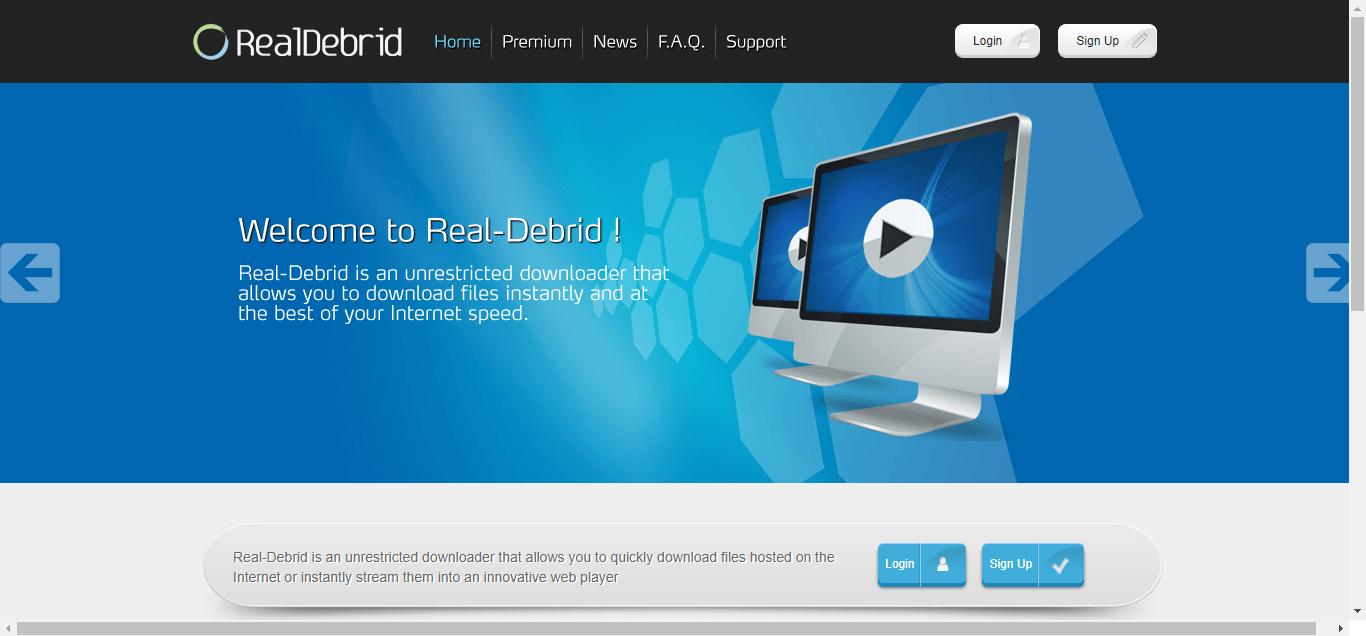 Real-Debrid Homepage