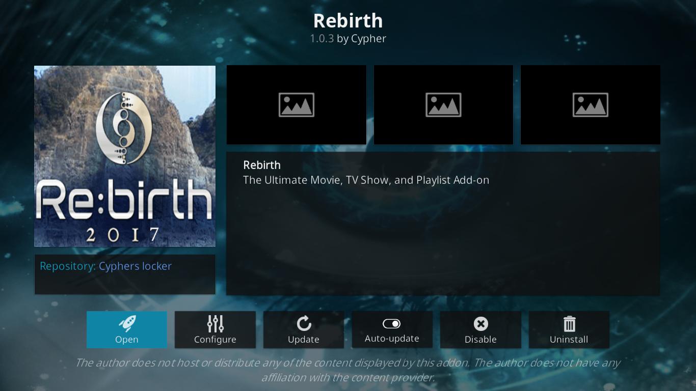 Rebirth add-on Information