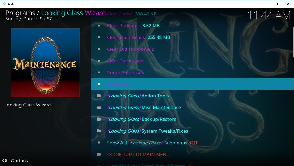 Reset Kodi Fire TV - Looking Glass wizard - 3