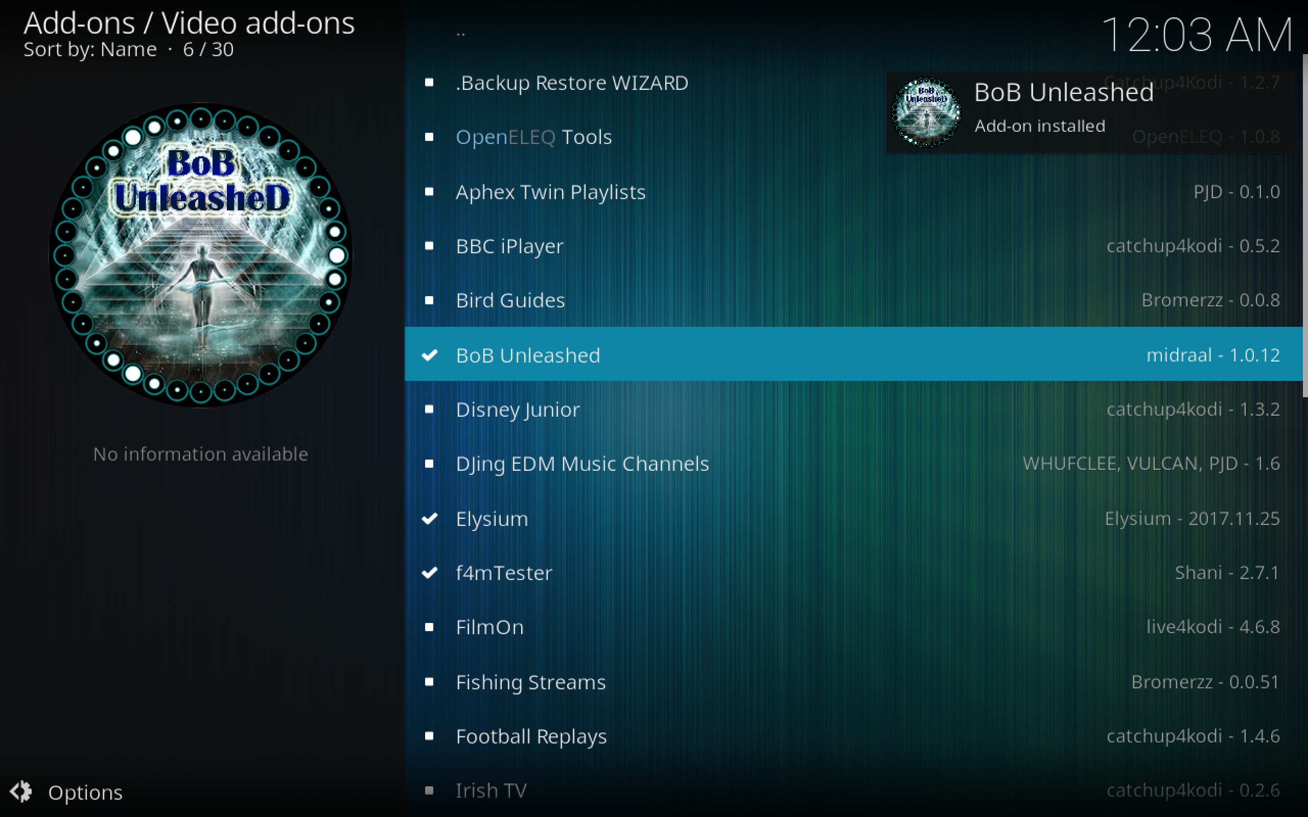 BoB Kodi Add-on Installed via Noobsandnerds
