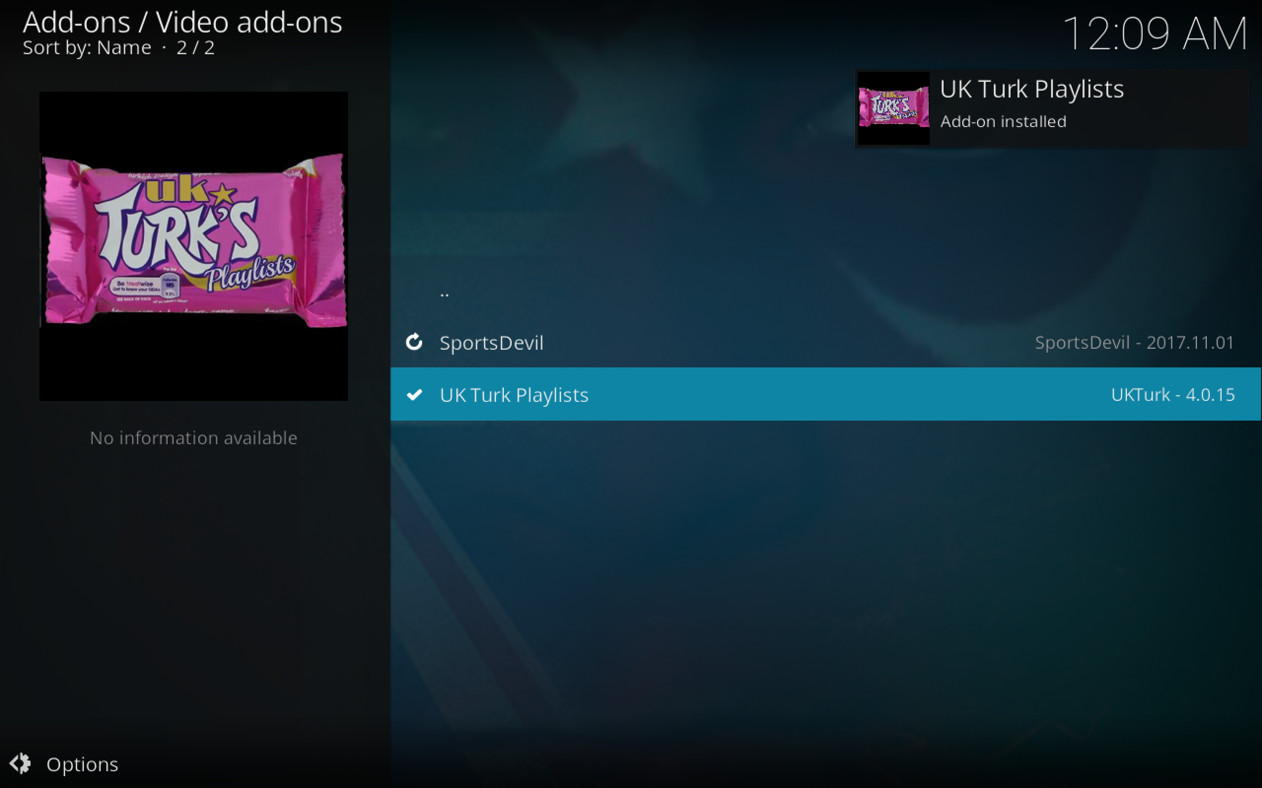 UK Turk Playlists Kodi Add-on Installed