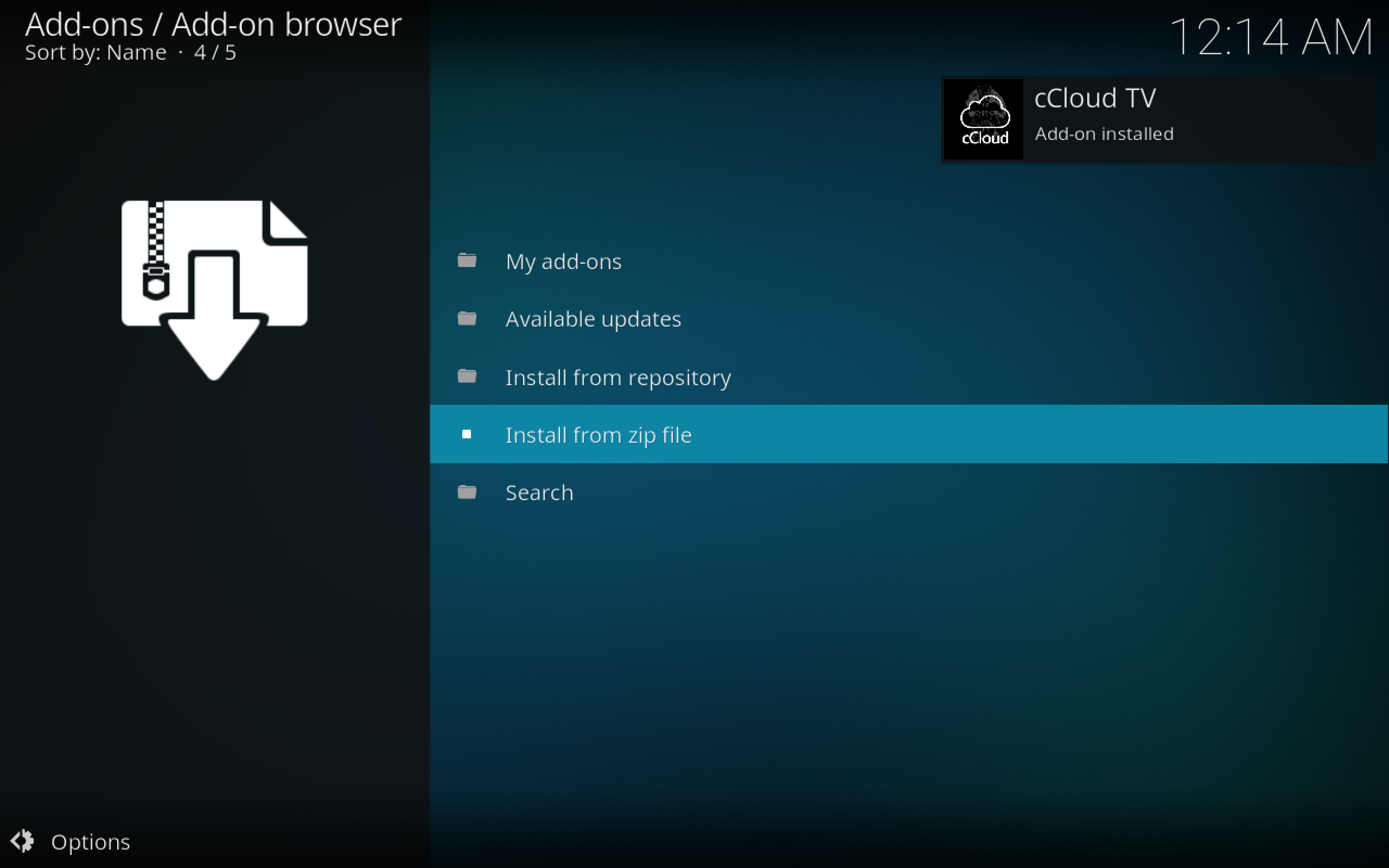 cCloud TV Kodi Add-on Installed