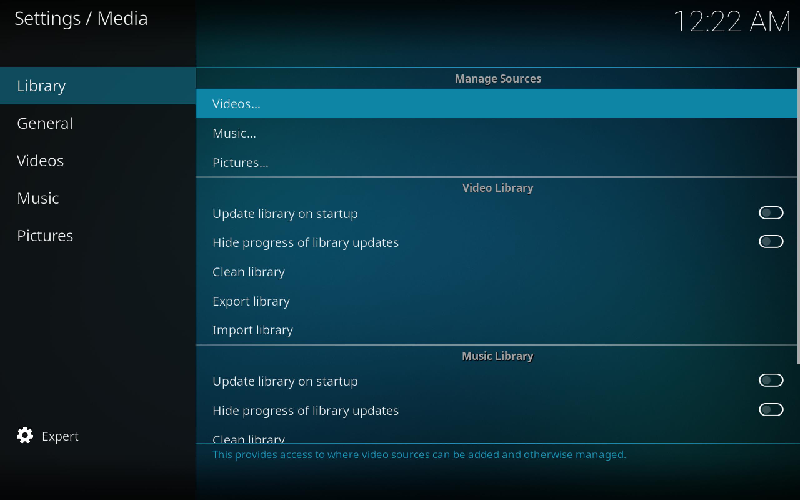 Manage Video Sources Kodi