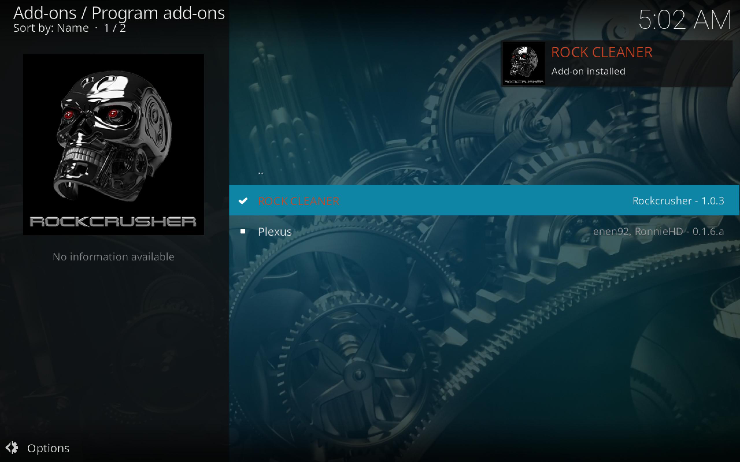 Rock Cleaner Kodi Add-on Installed