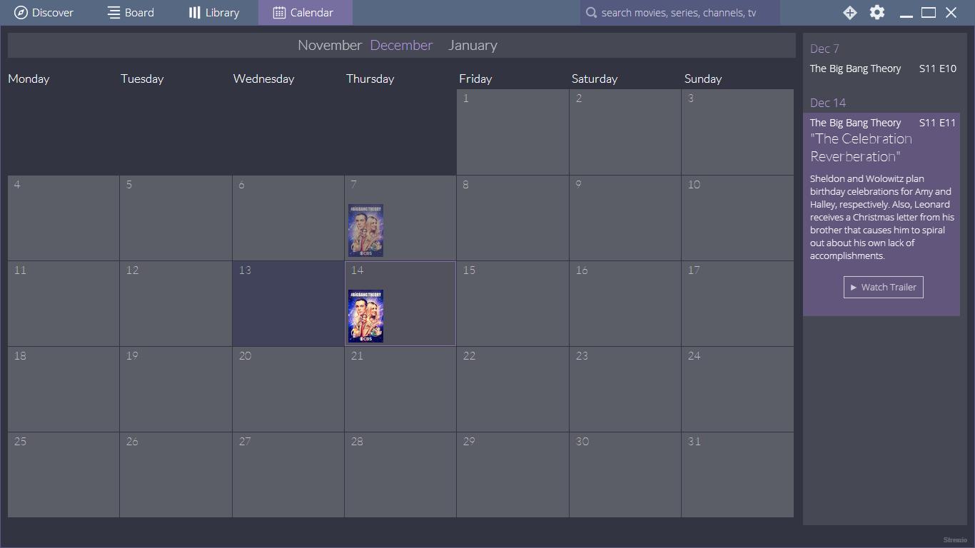 Stremio Calendar
