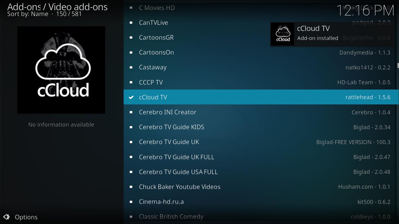 cCloud TV Installation Successful
