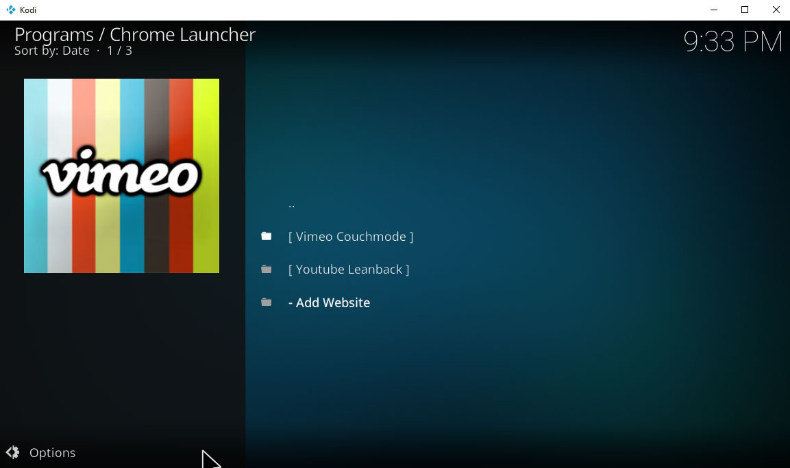chrome launcher addon - couchmode and leanback