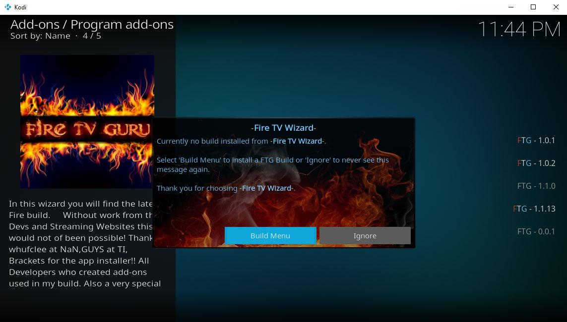 fire tv wizard build menu