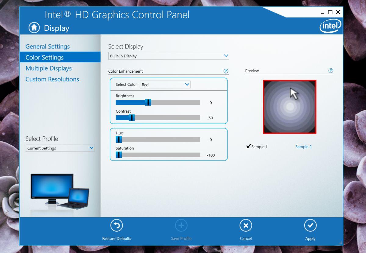 intel graphics saturation
