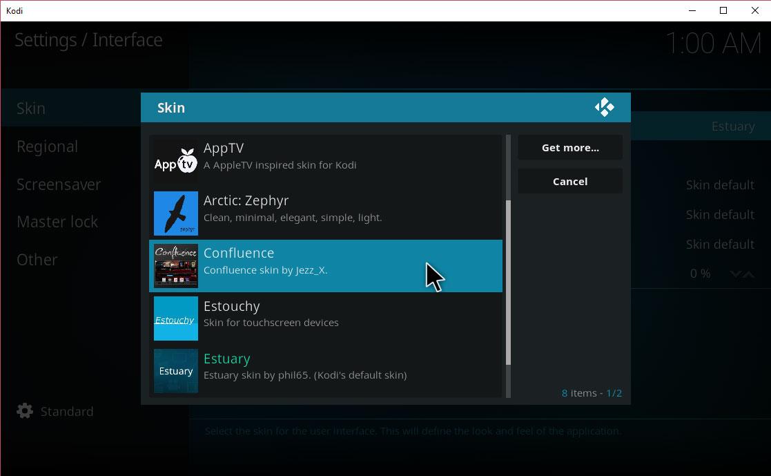 Install Confluence Kodi Skin - Choose Confluence