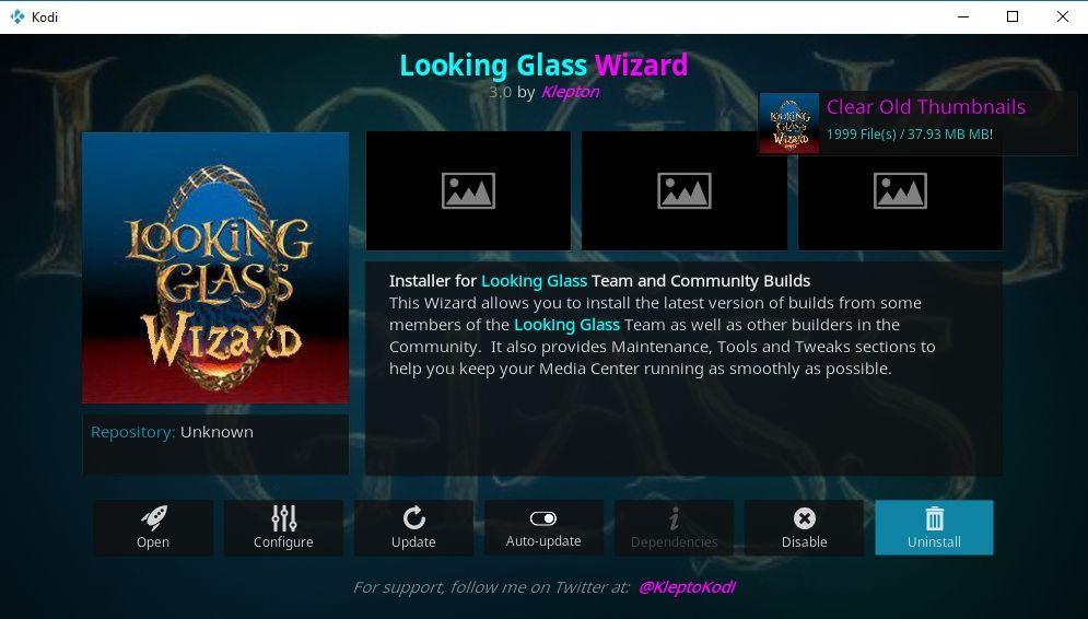 Best Kodi Wizard Addons 3 - Looking Glass cleaning wizard