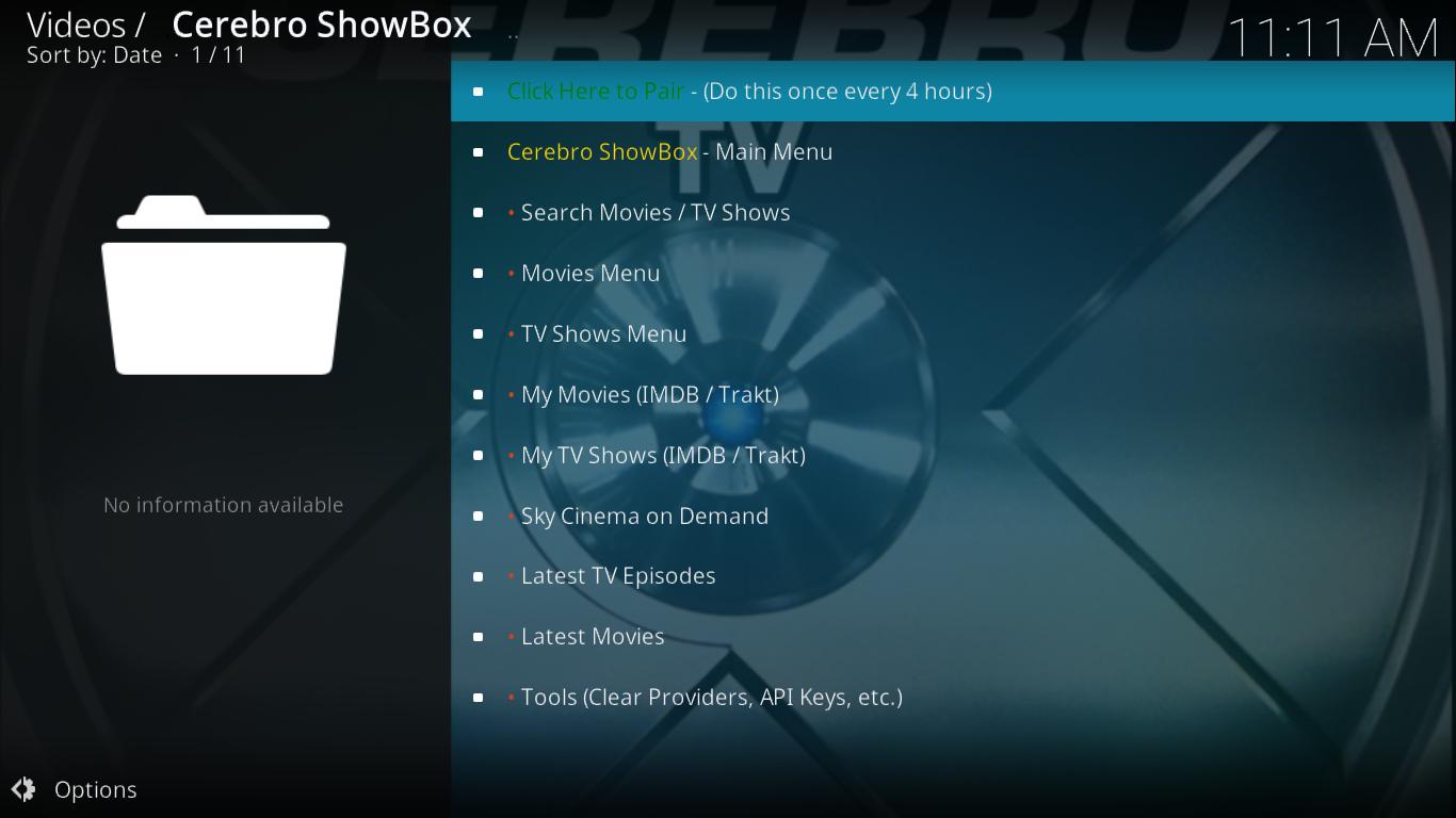 Cerebro Showbox Main Menu