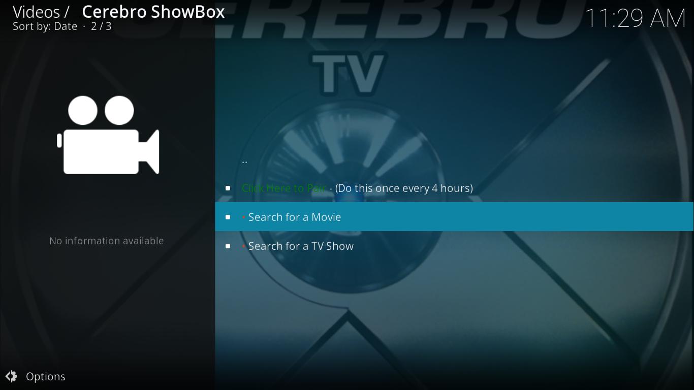Cerebro Showbox Search
