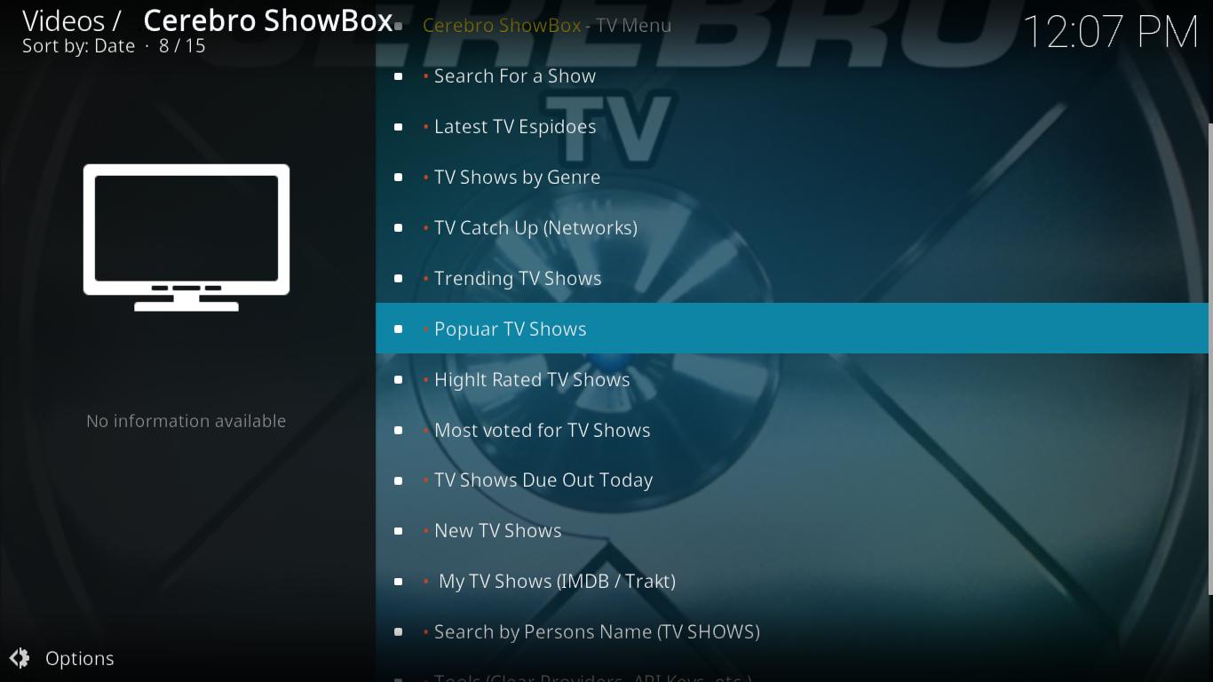 Cerebro Showbox TV Shows