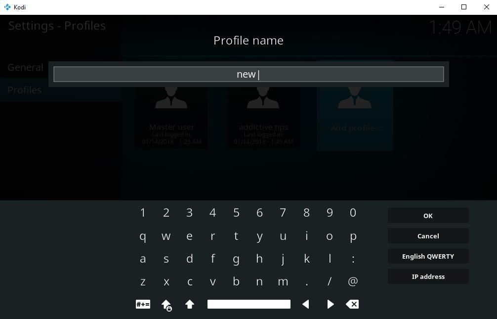 How To Set Up And Manage Kodi Profiles – Create New Profile – Name Profile