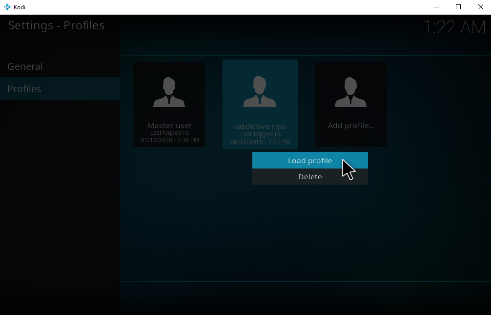 How To Set Up And Manage Kodi Profiles – Manage Profiles – Select Profiles
