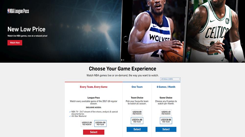 NBA League Pass – choose a VPN for a better geo price